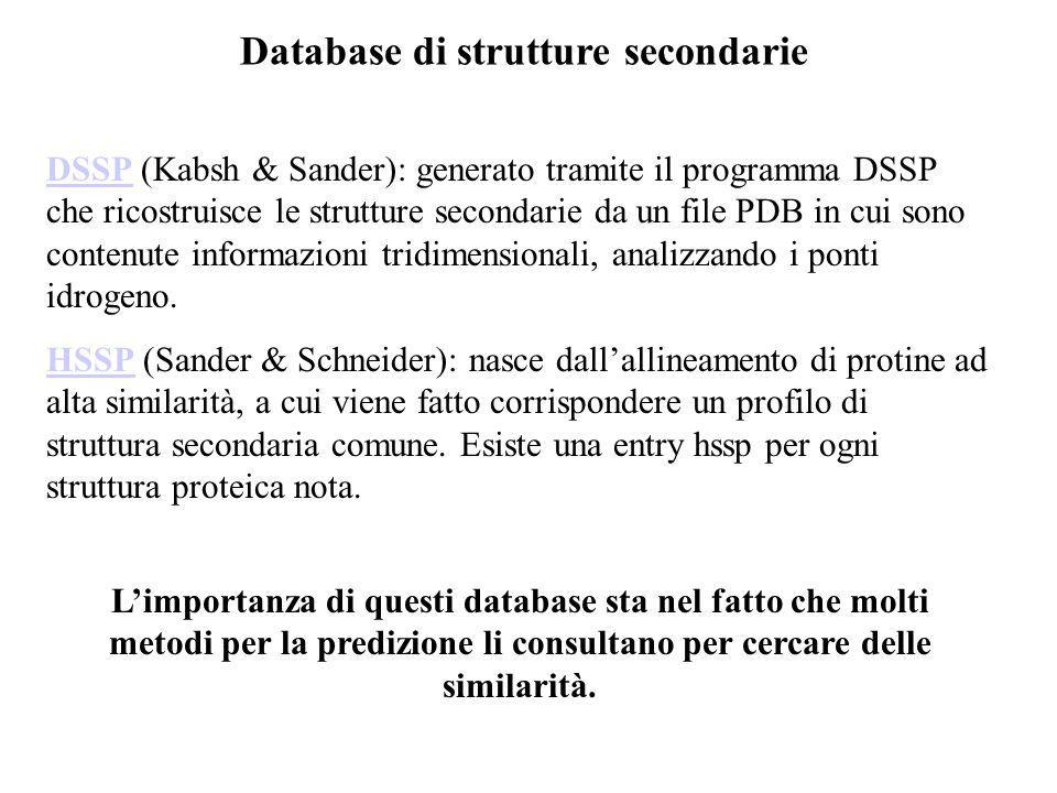 Database di strutture secondarie DSSPDSSP (Kabsh & Sander): generato tramite il programma DSSP che ricostruisce le strutture secondarie da un file PDB