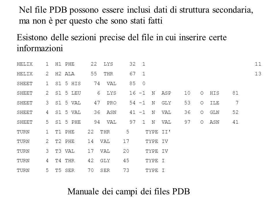 Nel file PDB possono essere inclusi dati di struttura secondaria, ma non è per questo che sono stati fatti HELIX 1 H1 PHE 22 LYS 32 1 11 HELIX 2 H2 AL