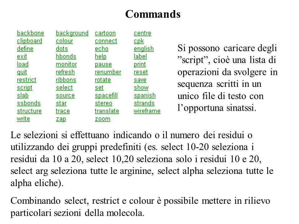 Commands Le selezioni si effettuano indicando o il numero dei residui o utilizzando dei gruppi predefiniti (es. select 10-20 seleziona i residui da 10