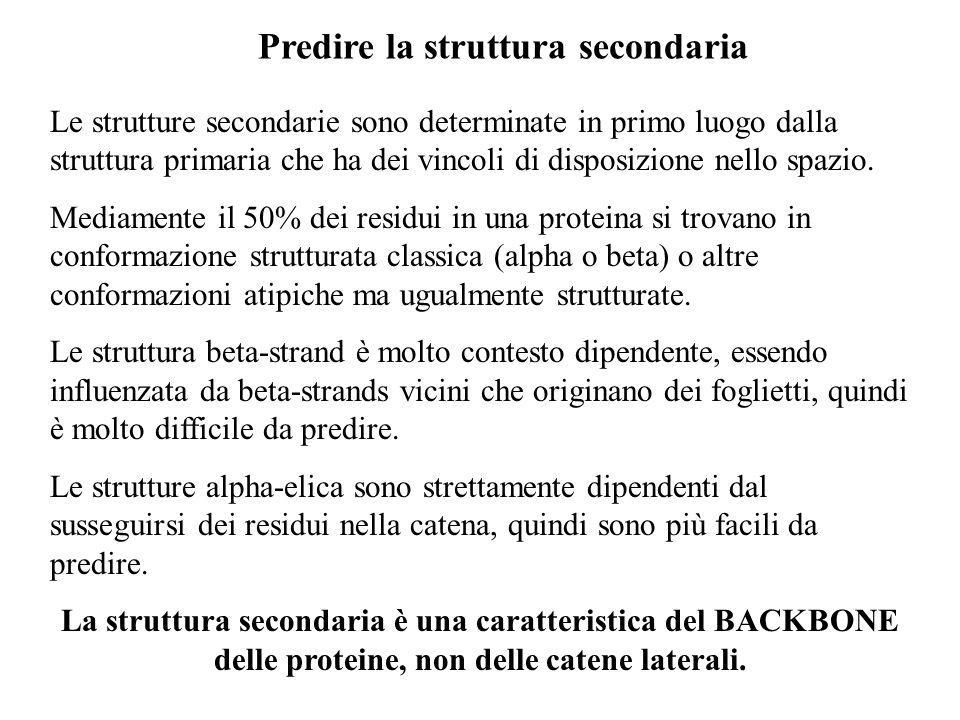 Predire la struttura secondaria Le strutture secondarie sono determinate in primo luogo dalla struttura primaria che ha dei vincoli di disposizione ne