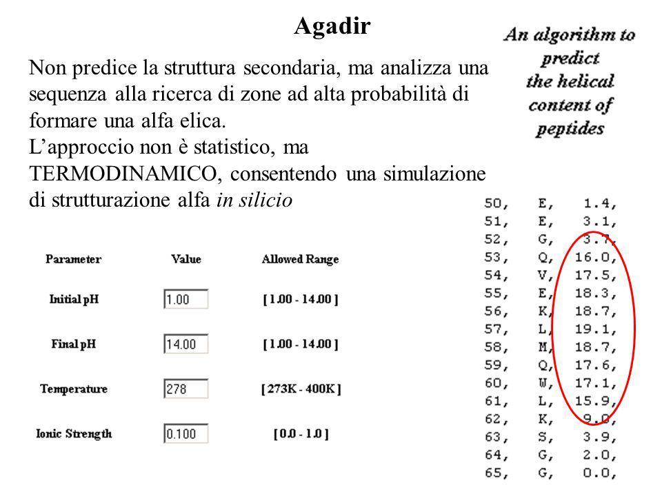 Agadir Non predice la struttura secondaria, ma analizza una sequenza alla ricerca di zone ad alta probabilità di formare una alfa elica. Lapproccio no