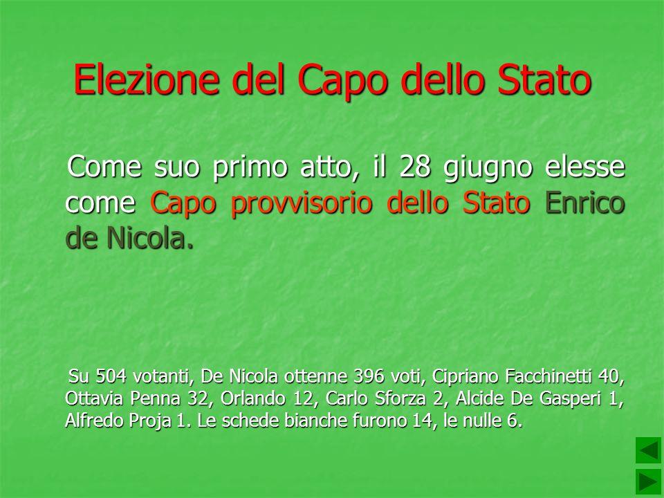 Elezione del Capo dello Stato Come suo primo atto, il 28 giugno elesse come Capo provvisorio dello Stato Enrico de Nicola. Come suo primo atto, il 28