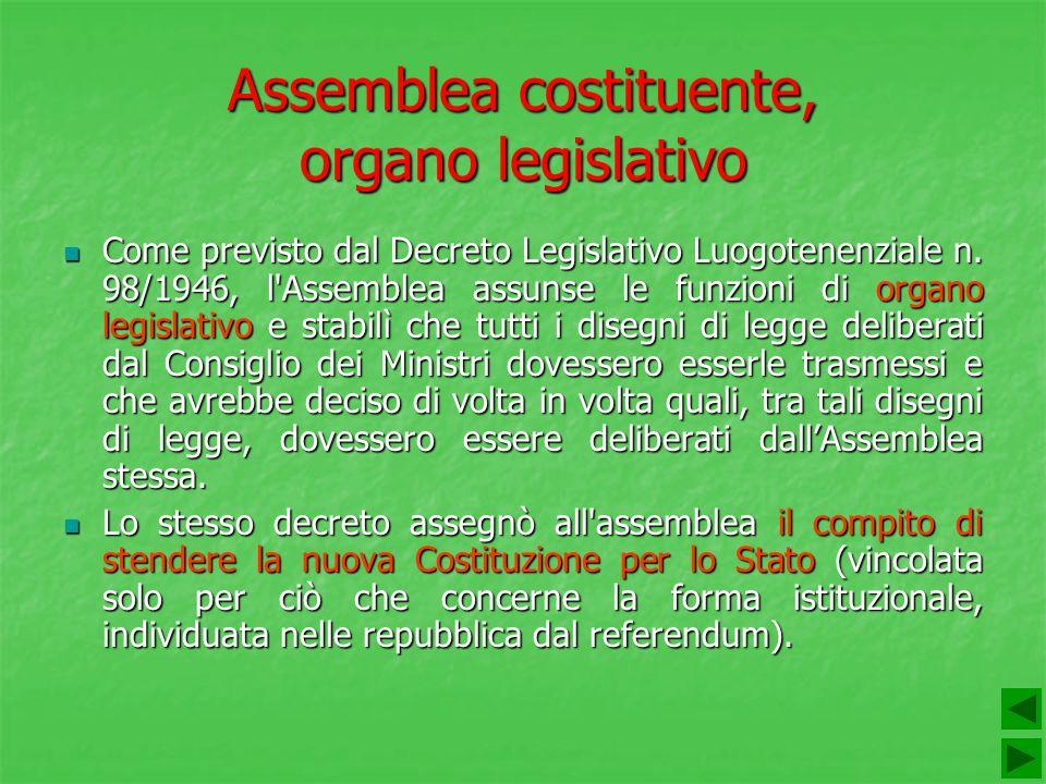 Assemblea costituente, organo legislativo Come previsto dal Decreto Legislativo Luogotenenziale n. 98/1946, l'Assemblea assunse le funzioni di organo