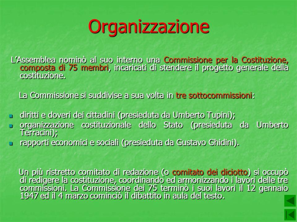 Organizzazione LAssemblea nominò al suo interno una Commissione per la Costituzione, composta di 75 membri, incaricati di stendere il progetto general