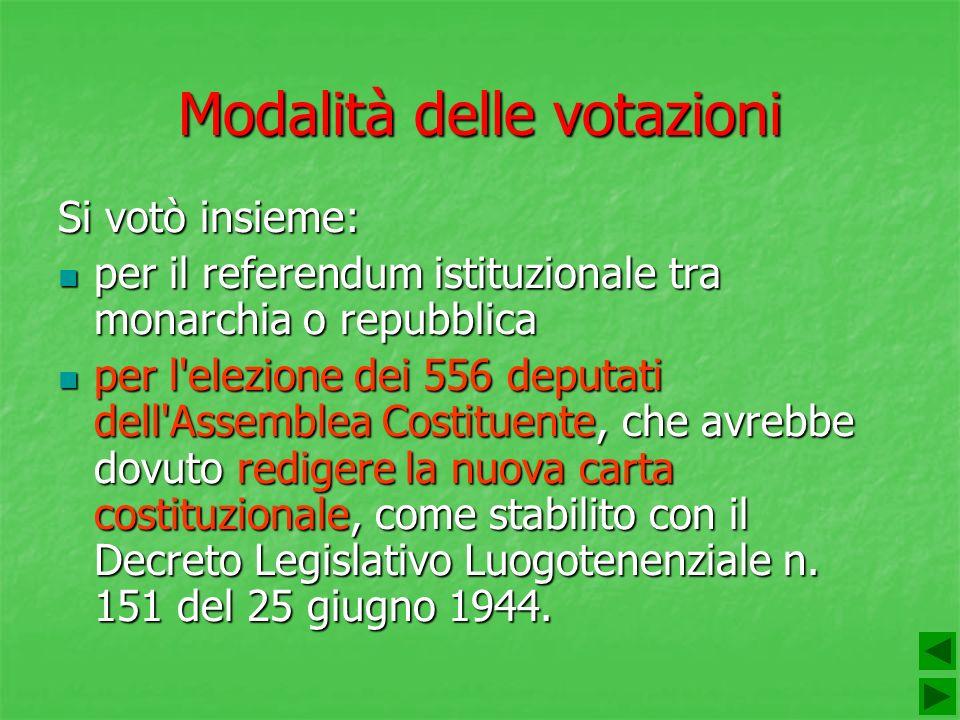 Modalità delle votazioni Si votò insieme: per il referendum istituzionale tra monarchia o repubblica per il referendum istituzionale tra monarchia o r