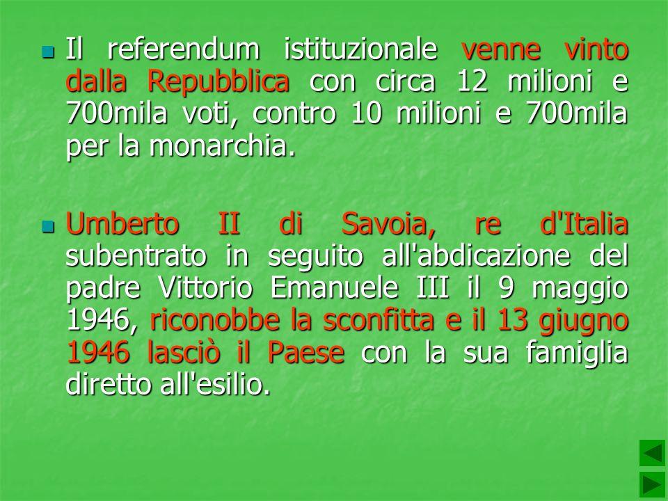 Il referendum istituzionale venne vinto dalla Repubblica con circa 12 milioni e 700mila voti, contro 10 milioni e 700mila per la monarchia. Il referen