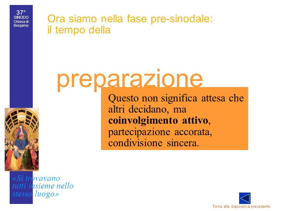 37° SINODO Chiesa di Bergamo «Si trovavano tutti insieme nello stesso luogo» 37° Sinodo diocesano 21 Torna alla diapositiva precedente Questo non sign