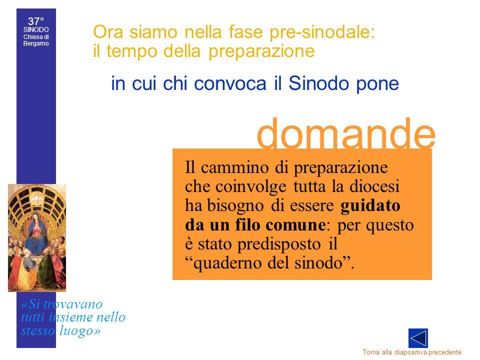 37° SINODO Chiesa di Bergamo «Si trovavano tutti insieme nello stesso luogo» 37° Sinodo diocesano 22 Ora siamo nella fase pre-sinodale: il tempo della