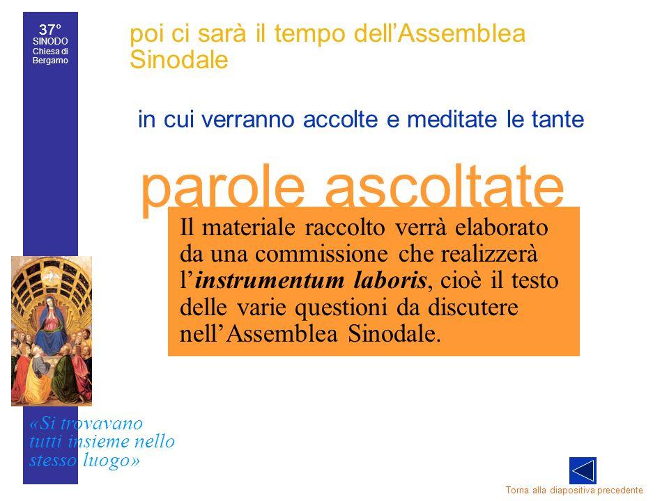 37° SINODO Chiesa di Bergamo «Si trovavano tutti insieme nello stesso luogo» 37° Sinodo diocesano 24 poi ci sarà il tempo dellAssemblea Sinodale in cu