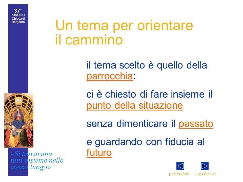 37° SINODO Chiesa di Bergamo «Si trovavano tutti insieme nello stesso luogo» 37° Sinodo diocesano 3 Un tema per orientare il cammino il tema scelto è