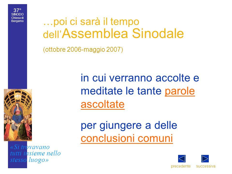 37° SINODO Chiesa di Bergamo «Si trovavano tutti insieme nello stesso luogo» 37° Sinodo diocesano 5 …poi ci sarà il tempo dell Assemblea Sinodale (ott