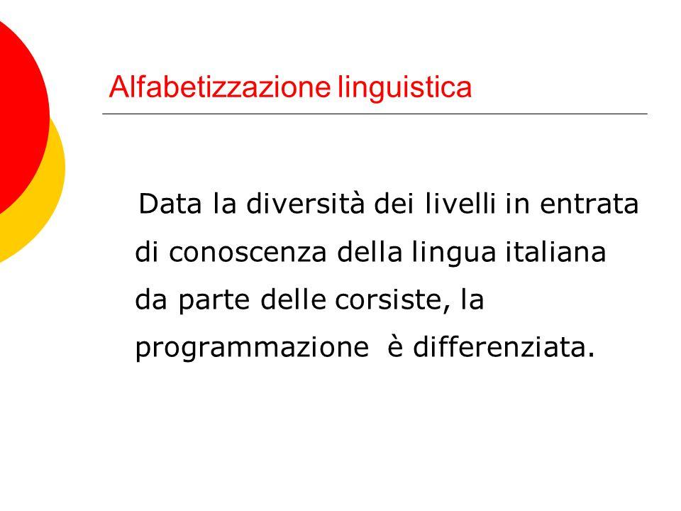 Alfabetizzazione linguistica Data la diversità dei livelli in entrata di conoscenza della lingua italiana da parte delle corsiste, la programmazione è differenziata.