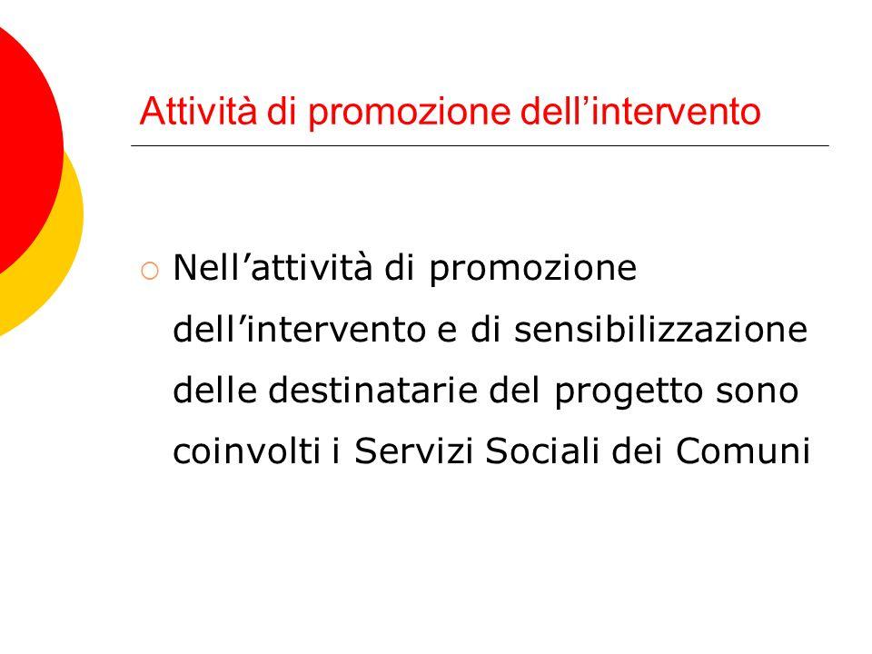 Attività di promozione dellintervento Nellattività di promozione dellintervento e di sensibilizzazione delle destinatarie del progetto sono coinvolti i Servizi Sociali dei Comuni