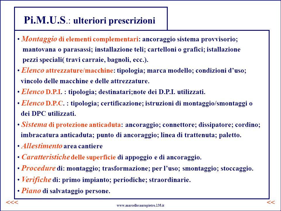 Pi.M.U.S.: ulteriori prescrizioni Montaggio di elementi complementari: ancoraggio sistema provvisorio; mantovana o parasassi; installazione teli; cart