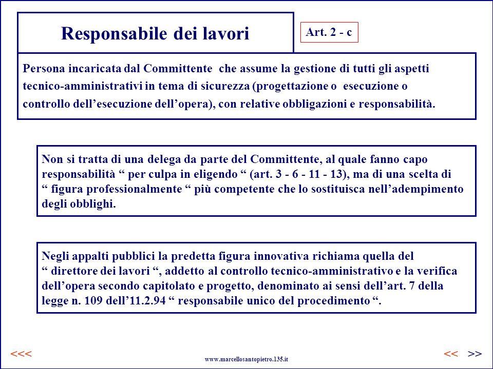 Responsabile dei lavori Art. 2 - c Persona incaricata dal Committente che assume la gestione di tutti gli aspetti tecnico-amministrativi in tema di si