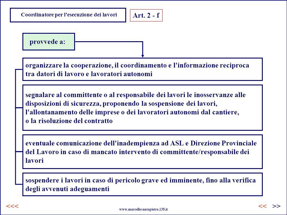 Coordinatore per lesecuzione dei lavori Art. 2 - f provvede a: organizzare la cooperazione, il coordinamento e l'informazione reciproca tra datori di