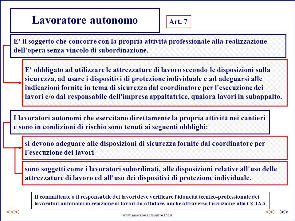 Lavoratore autonomo Art. 7 E' il soggetto che concorre con la propria attività professionale alla realizzazione dell'opera senza vincolo di subordinaz