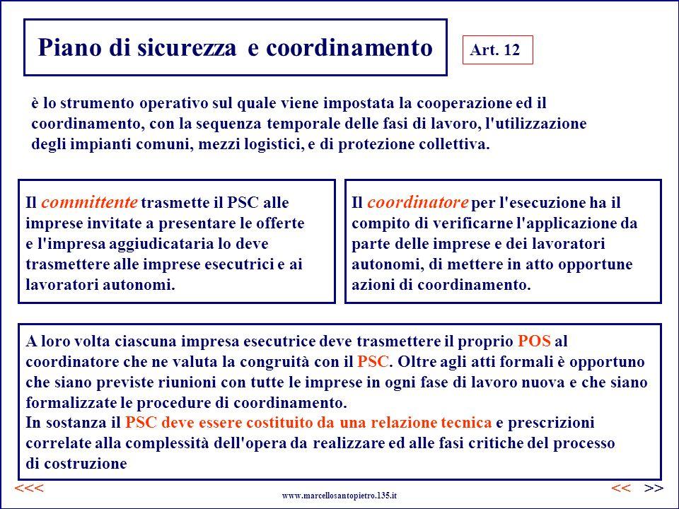 Piano di sicurezza e coordinamento Art. 12 è lo strumento operativo sul quale viene impostata la cooperazione ed il coordinamento, con la sequenza tem