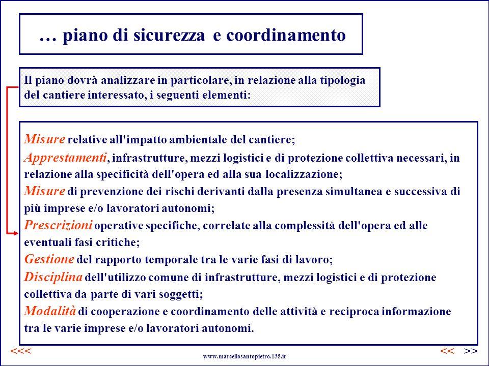 … piano di sicurezza e coordinamento Il piano dovrà analizzare in particolare, in relazione alla tipologia del cantiere interessato, i seguenti elemen