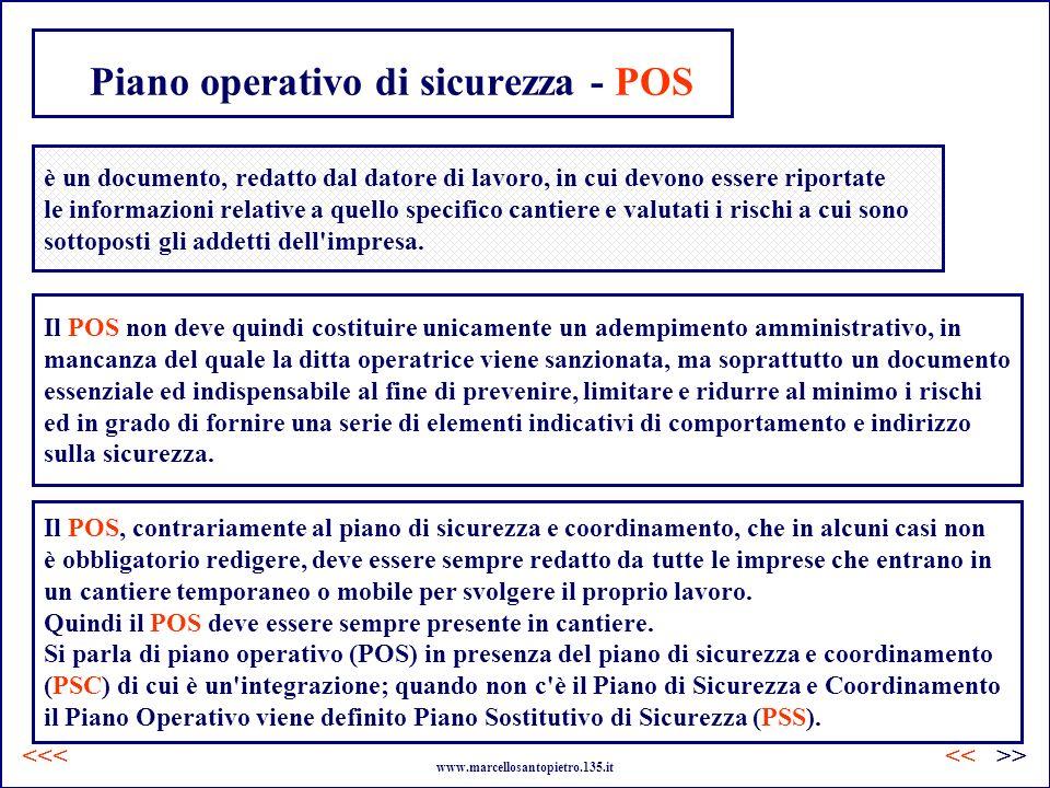 Piano operativo di sicurezza - POS è un documento, redatto dal datore di lavoro, in cui devono essere riportate le informazioni relative a quello spec