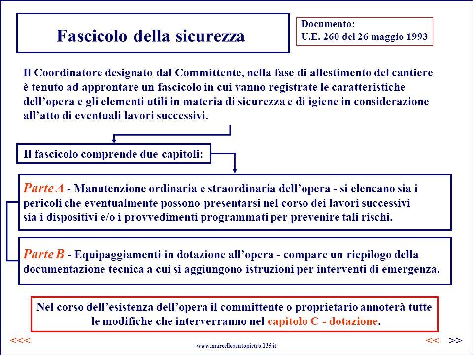 Fascicolo della sicurezza Documento: U.E. 260 del 26 maggio 1993 Il Coordinatore designato dal Committente, nella fase di allestimento del cantiere è
