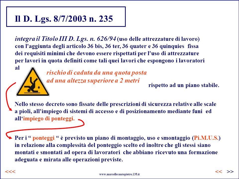 Il D. Lgs. 8/7/2003 n. 235 Nello stesso decreto sono fissate delle prescrizioni di sicurezza relative alle scale a pioli, all'impiego di sistemi di ac