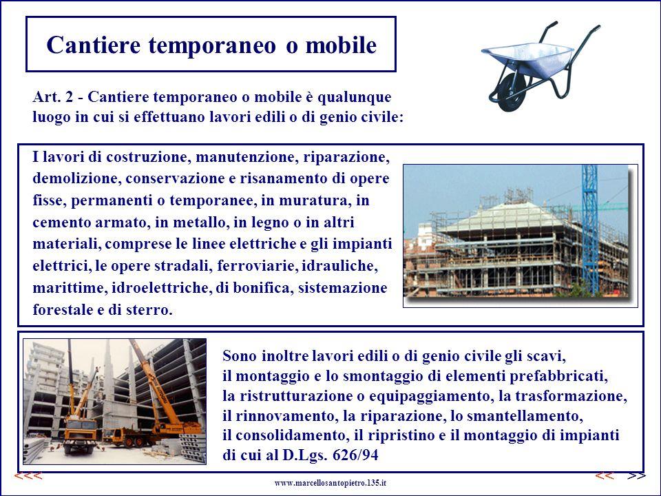 Cantiere temporaneo o mobile Art. 2 - Cantiere temporaneo o mobile è qualunque luogo in cui si effettuano lavori edili o di genio civile: Sono inoltre