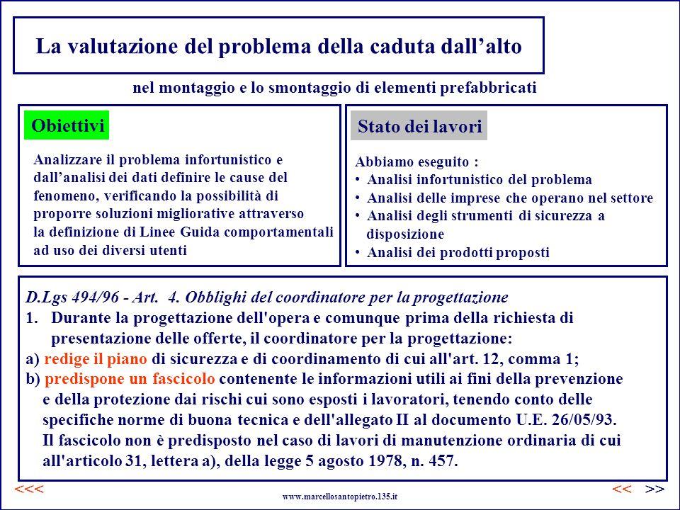 La valutazione del problema della caduta dallalto Obiettivi Analizzare il problema infortunistico e dallanalisi dei dati definire le cause del fenomen