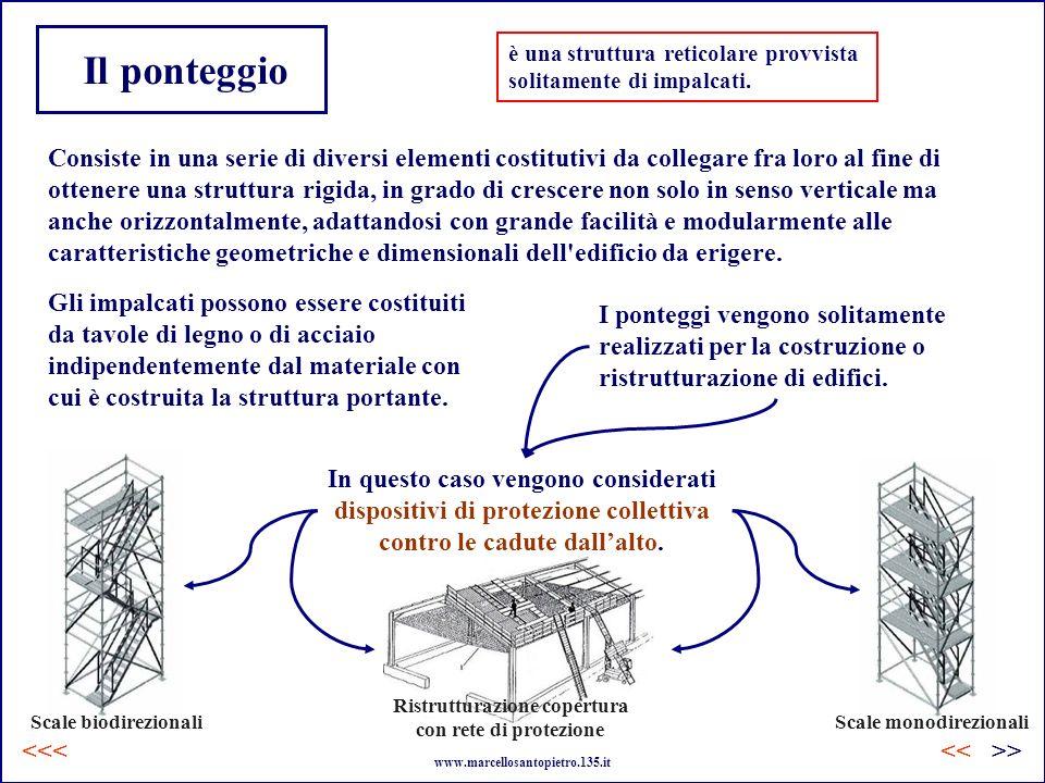Il ponteggio è una struttura reticolare provvista solitamente di impalcati. Consiste in una serie di diversi elementi costitutivi da collegare fra lor