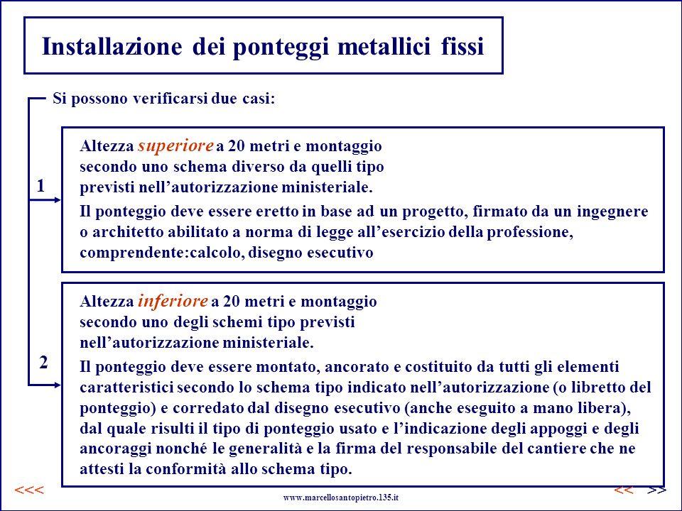 Installazione dei ponteggi metallici fissi Si possono verificarsi due casi: Il ponteggio deve essere eretto in base ad un progetto, firmato da un inge