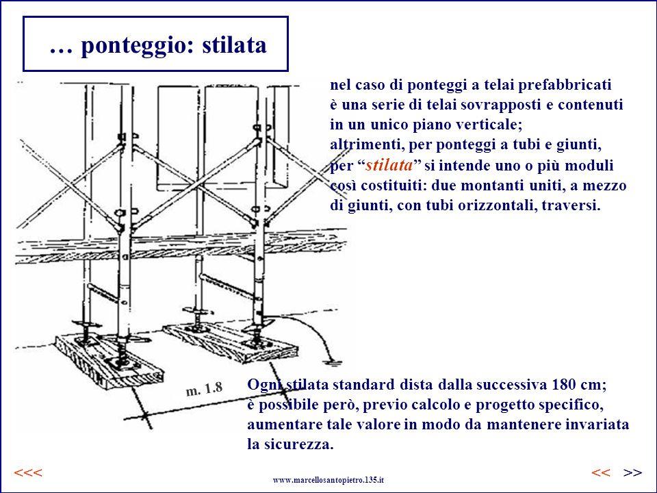 … ponteggio: stilata m. 1.8 nel caso di ponteggi a telai prefabbricati è una serie di telai sovrapposti e contenuti in un unico piano verticale; altri