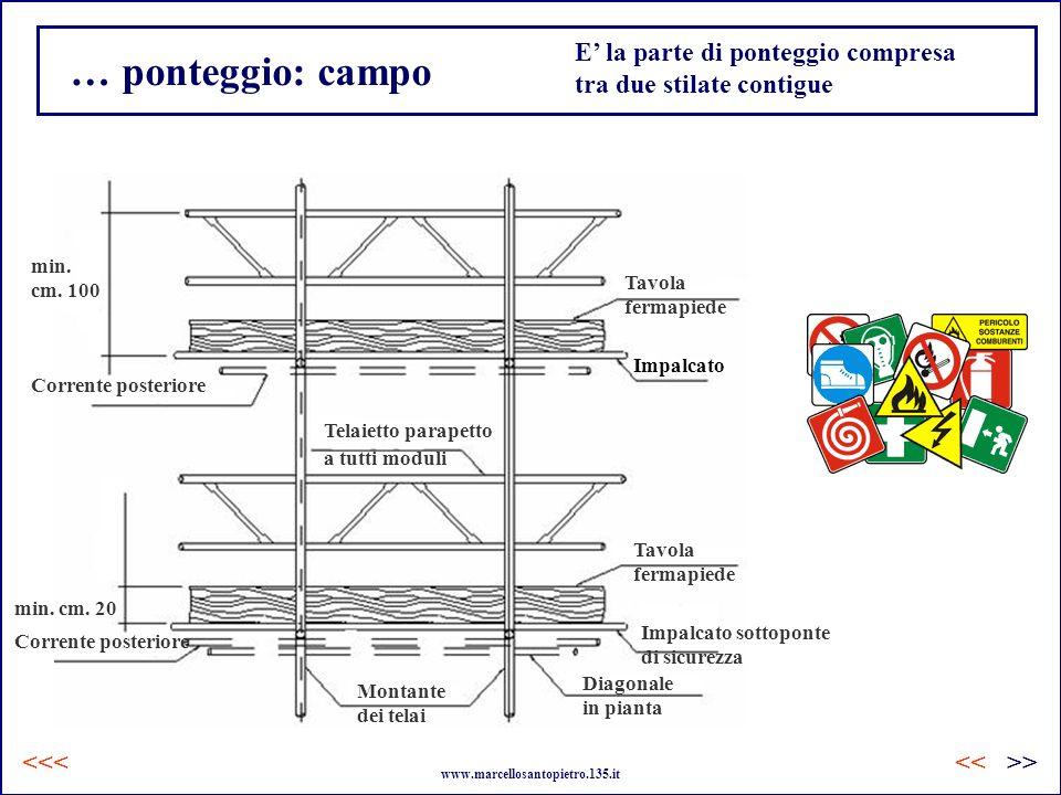 … ponteggio: campo Corrente posteriore Montante dei telai Telaietto parapetto a tutti moduli Tavola fermapiede Tavola fermapiede Impalcato Diagonale i