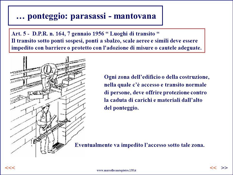 … ponteggio: parasassi - mantovana Art. 5 - D.P.R. n. 164, 7 gennaio 1956 Luoghi di transito Il transito sotto ponti sospesi, ponti a sbalzo, scale ae