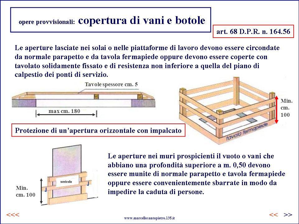 opere provvisionali: copertura di vani e botole Tavole spessore cm. 5 max cm. 180 Min. cm. 100 Min. cm. 100 www.marcellosantopietro.135.it <<<>><<