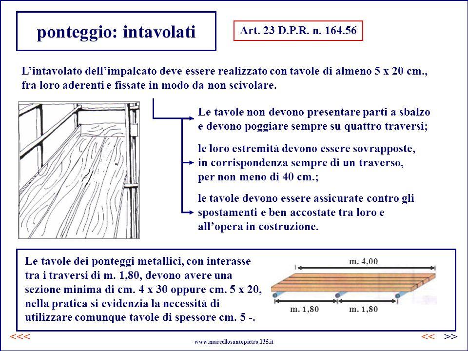 ponteggio: intavolati Art. 23 D.P.R. n. 164.56 Lintavolato dellimpalcato deve essere realizzato con tavole di almeno 5 x 20 cm., fra loro aderenti e f