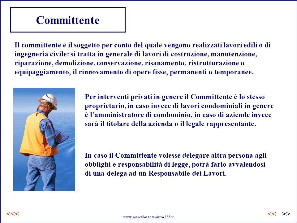 Committente Il committente è il soggetto per conto del quale vengono realizzati lavori edili o di ingegneria civile: si tratta in generale di lavori d