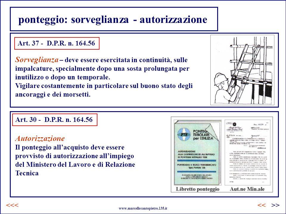 ponteggio: sorveglianza - autorizzazione Art. 37 - D.P.R. n. 164.56 Sorveglianza – deve essere esercitata in continuità, sulle impalcature, specialmen