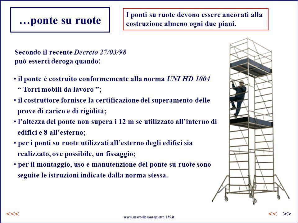 …ponte su ruote I ponti su ruote devono essere ancorati alla costruzione almeno ogni due piani. il ponte è costruito conformemente alla norma UNI HD 1