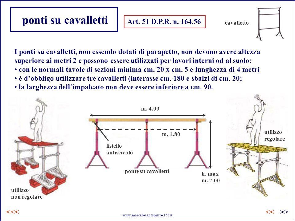ponti su cavalletti Art. 51 D.P.R. n. 164.56 I ponti su cavalletti, non essendo dotati di parapetto, non devono avere altezza superiore ai metri 2 e p
