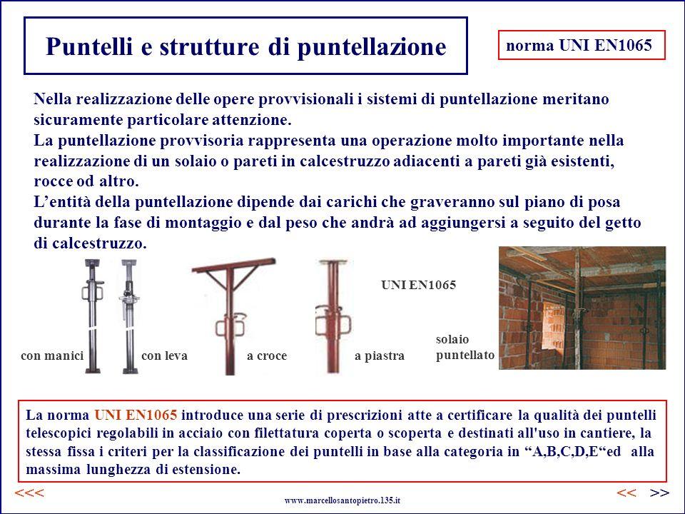 Puntelli e strutture di puntellazione Nella realizzazione delle opere provvisionali i sistemi di puntellazione meritano sicuramente particolare attenz
