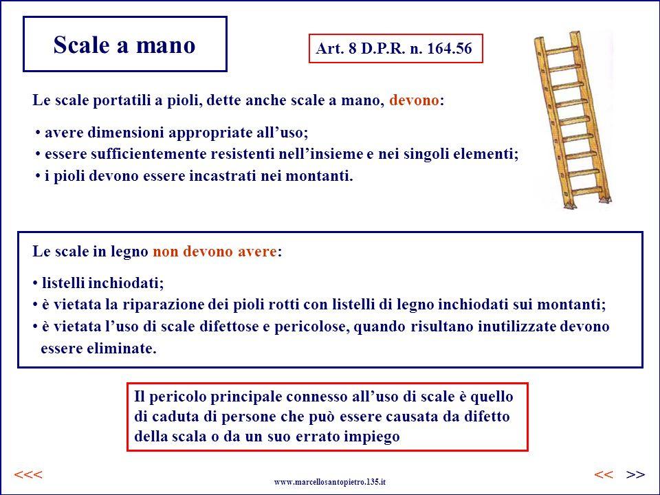 Scale a mano Art. 8 D.P.R. n. 164.56 Le scale portatili a pioli, dette anche scale a mano, devono: avere dimensioni appropriate alluso; essere suffici