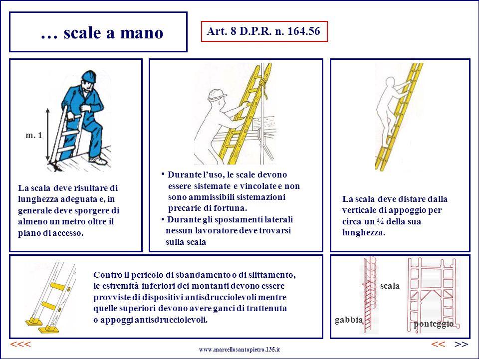 … scale a mano Art. 8 D.P.R. n. 164.56 La scala deve risultare di lunghezza adeguata e, in generale deve sporgere di almeno un metro oltre il piano di