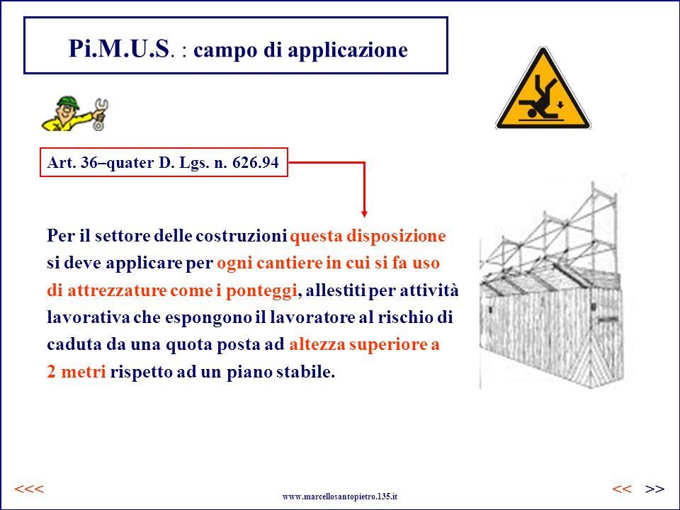 Pi.M.U.S. : campo di applicazione Per il settore delle costruzioni questa disposizione si deve applicare per ogni cantiere in cui si fa uso di attrezz