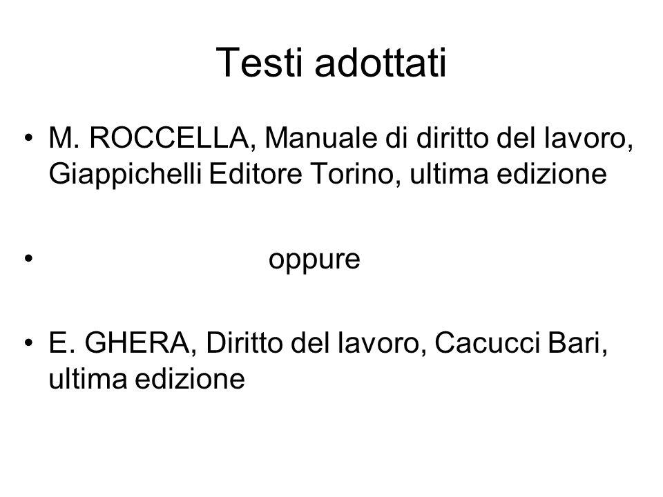 Testi adottati M. ROCCELLA, Manuale di diritto del lavoro, Giappichelli Editore Torino, ultima edizione oppure E. GHERA, Diritto del lavoro, Cacucci B
