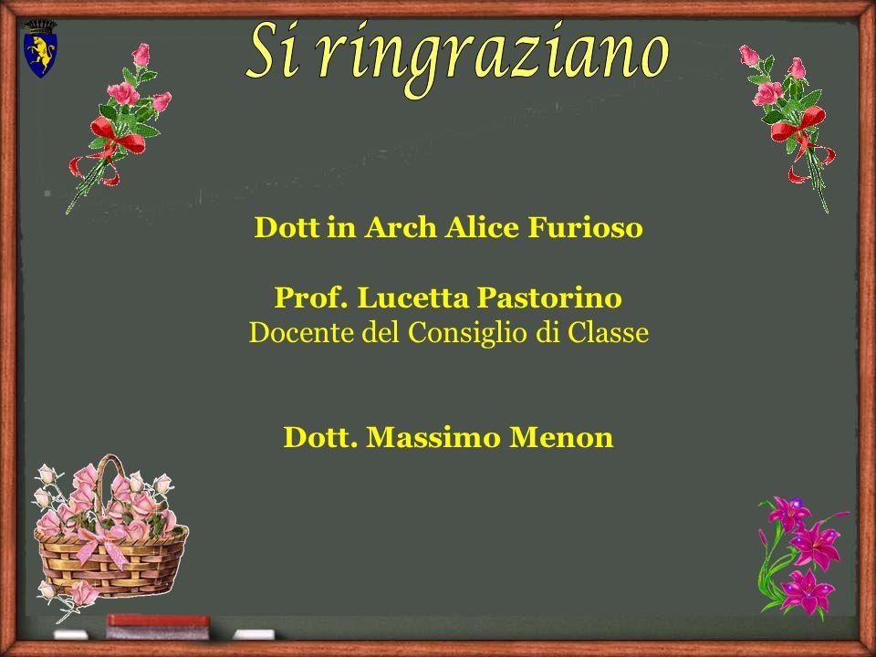 Dott in Arch Alice Furioso Prof. Lucetta Pastorino Docente del Consiglio di Classe Dott. Massimo Menon