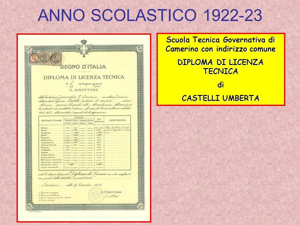 ANNO SCOLASTICO 1922-23 Scuola Tecnica Governativa di Camerino con indirizzo comune DIPLOMA DI LICENZA TECNICA di CASTELLI UMBERTA