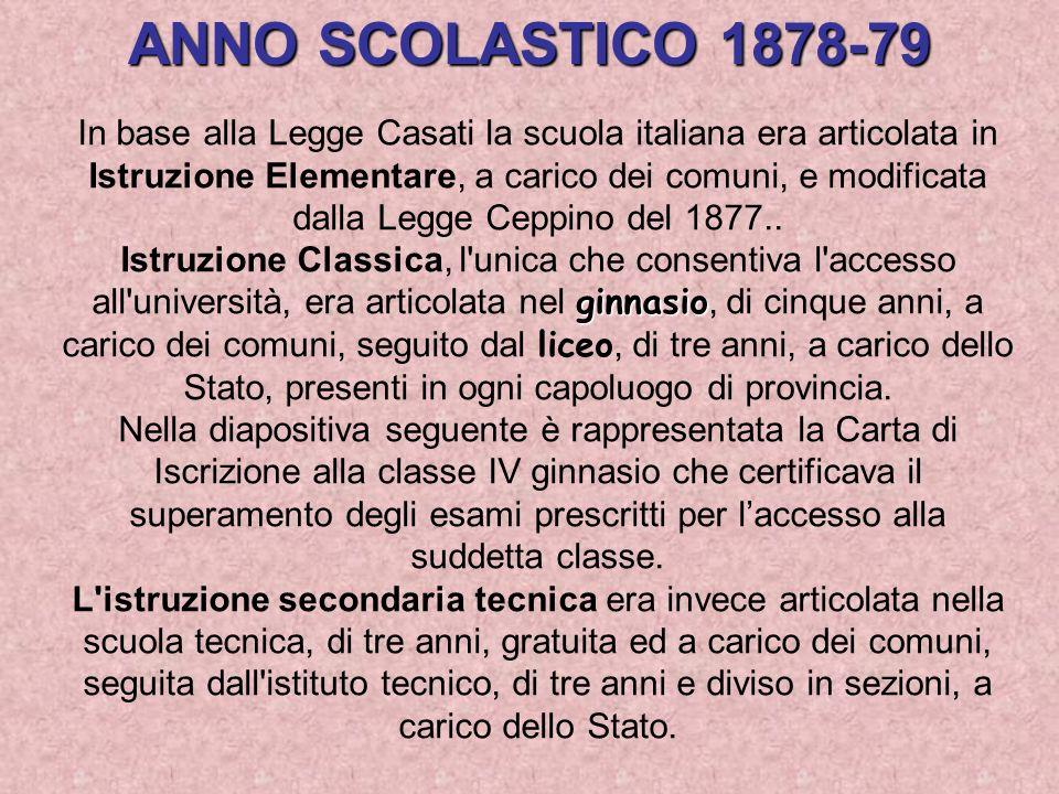 ANNO SCOLASTICO 1878-79 In base alla Legge Casati la scuola italiana era articolata in Istruzione Elementare, a carico dei comuni, e modificata dalla