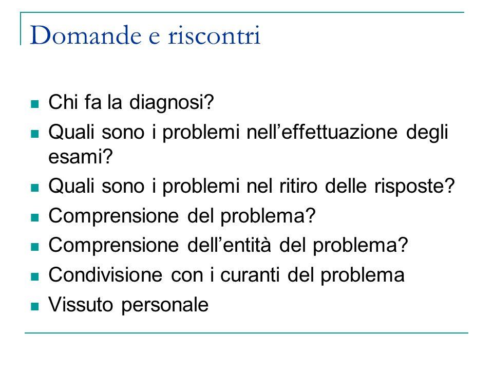 Domande e riscontri Chi fa la diagnosi? Quali sono i problemi nelleffettuazione degli esami? Quali sono i problemi nel ritiro delle risposte? Comprens