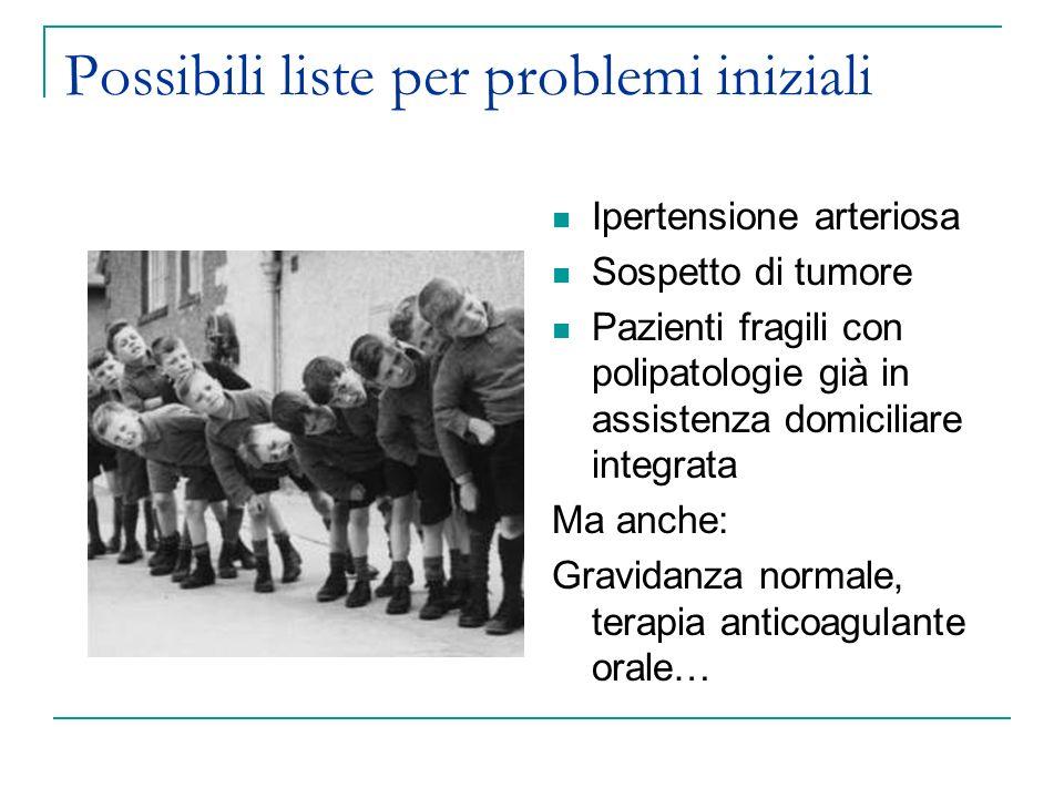 Possibili liste per problemi iniziali Ipertensione arteriosa Sospetto di tumore Pazienti fragili con polipatologie già in assistenza domiciliare integ