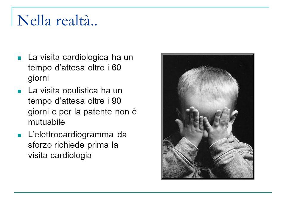 Nella realtà.. La visita cardiologica ha un tempo dattesa oltre i 60 giorni La visita oculistica ha un tempo dattesa oltre i 90 giorni e per la patent